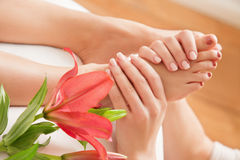 Woman Having Reflexology Stock Photos