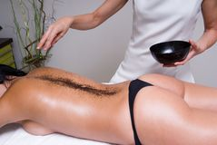 Woman having a relax session and massage stock images