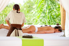 Woman having a relaxing massage Stock Photography