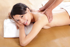 Woman having relaxing massage on her back Royalty Free Stock Photos