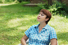 Woman is having rest outdoor Stock Photos