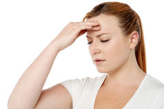 Woman having severe headache Stock Images