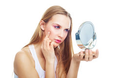 Woman having skin problems Stock Photo