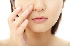 Woman having skin problems Royalty Free Stock Photo