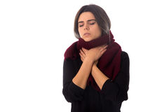 Woman having a sore throay Stock Photo