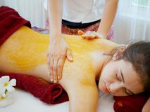 Woman having spa body massage treatment in the spa salon,Massage. And body care Stock Photography