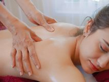 Woman having spa body massage treatment in the spa salon,Massage. And body care Royalty Free Stock Photo