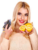 Woman having  tablets and lemon. Royalty Free Stock Photos