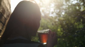 Woman having tea outdoor during sunset. Back view of a woman having tea outdoor during sunset. Evening sun shining through the tree branches stock video footage