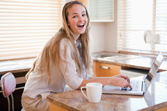 Woman having tea while using a laptop Stock Photo