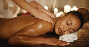 Woman Having Therapy Massage Of Back Royalty Free Stock Photos