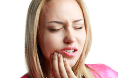 Woman having toothache Royalty Free Stock Images
