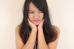 Woman having a toothache. Royalty Free Stock Image