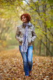 Woman having a walk in the woods Stock Image