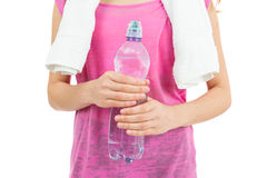 Woman having water for a refreshment after sports royalty free stock image