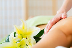 Woman having wellness back massage in spa Royalty Free Stock Image
