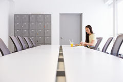 Woman Having Working Lunch In Design Studio Royalty Free Stock Photo