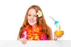 Woman in Hawaiian image with cocktail and poster in hands royalty free stock photo