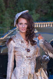 Woman with hawk on hand Royalty Free Stock Photography