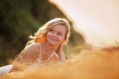 Woman in the hay Royalty Free Stock Images