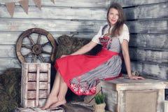 Woman at hay Stock Photos