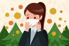 Woman with hay fever royalty free stock images