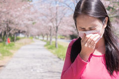 Woman with hay fever Royalty Free Stock Photo