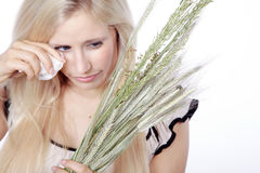 Woman with hay fever Stock Photo