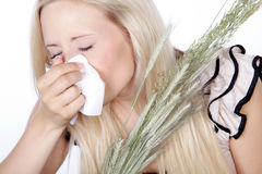 Woman with hay fever Stock Image