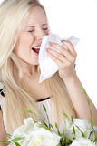 Woman with hay fever Stock Images