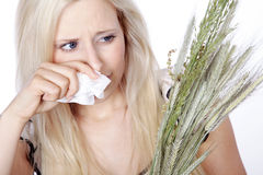 Woman with hay fever Royalty Free Stock Photography