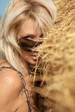 Woman  in hay stack Stock Photography