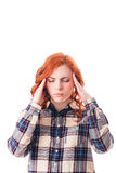 Woman with head ache. Holding her head. Isolated over white background Stock Photo