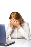 Woman with a head ache on white background Stock Photo