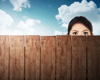 A woman head behind wooden fence Royalty Free Stock Photo