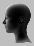 Woman head. Black 3d woman head on gray background Stock Photos