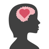 Woman head, brain, heart. Woman head silhouette with brain and heart inside, on white background. Love, creativity, intelligence and emotion concept. Flat design stock illustration
