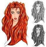 Woman head cartoon illustration Royalty Free Stock Images