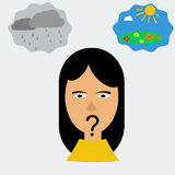 Woman head in depression. Vector illustration woman head in depression thinking about good and bad thoughts Stock Image