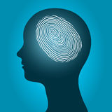 Woman head with an enclosed fingerprint. Conceptual vector illustration of the silhouette of a female head with an enclosed glowing fingerprint or thumbprint Royalty Free Stock Image
