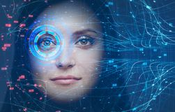 Woman head, face recognition technology and HUD royalty free stock photo