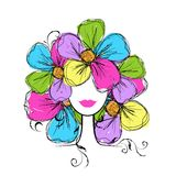 Woman head with floral hairstyle for your design Royalty Free Stock Images
