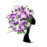 Woman head with floral hairstyle for your design Stock Photography