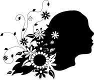 Woman head with floral ornaments Royalty Free Stock Photography