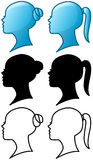 Woman Head Icon and Silhouette Pack Royalty Free Stock Photography