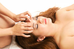 Woman head massage Royalty Free Stock Photography