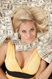 Woman head in money with money fan Royalty Free Stock Photo