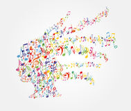 Woman head music notes flying Stock Photography