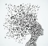 Woman head music notes splash. Music notes splash from woman's head illustration. Vector file layered for easy manipulation and custom coloring Stock Image