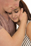 Woman Head On Mans Chest Hand On Face Eyes Closed Royalty Free Stock Image